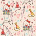 Vintage card seamless pattern with cats in bright colors Royalty Free Stock Photography