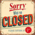 Vintage card - Sorry were closed. Royalty Free Stock Photos