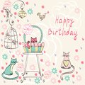 Vintage card vector with cats in bright colors Royalty Free Stock Images