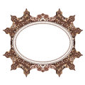 Vintage cards Frame with Floral mandala pattern and ornaments. Frame oriental design template. Islam, Arabic, Indian style. Frame Royalty Free Stock Photo