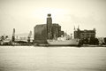 Vintage cargo vessel black white photo of a in the port Stock Images