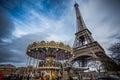 Vintage carousel close to Eiffel Tower, Paris Royalty Free Stock Photo