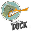 Vintage cartoon duck illustration of a Royalty Free Stock Images
