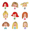 Vintage cartoon girls with various hair styles woman and colorful illustration of Stock Images