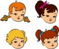 Vintage cartoon little girls. Royalty Free Stock Images