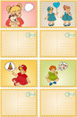 Vintage cartoon little girls. Royalty Free Stock Photo