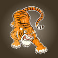 Vintage cartoon tiger Royalty Free Stock Images