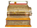 Vintage cash register isolated on white Royalty Free Stock Photo