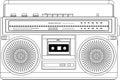 Vintage cassette recorder, ghetto blaster boombox