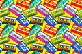 Vintage cassettes pattern. Pop music retro 1980s sound tape, old school stereo technology, dj mix tape. Vector cassette
