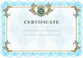 Vintage certificate with design elements and blue watermarks Stock Photos
