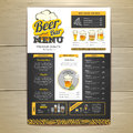 Vintage chalk drawing beer menu design. Royalty Free Stock Photo