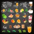 Vintage chalk drawing cocktail menu design. Restaurant menu on a dark background. Hand drawing on a graphic tablet