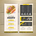 Vintage chalk drawing fast food menu design