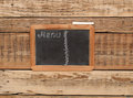 Vintage chalkboard menu free space for your copy with old wooden background Stock Photo