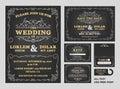 Vintage Chalkboard Wedding Invitations design set Royalty Free Stock Photo
