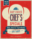 Vintage chef s specials poster vector illustration Royalty Free Stock Image