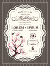 Vintage cherry blossom Wedding invitation border and frame Royalty Free Stock Photo