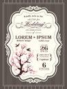 Vintage cherry blossom Wedding invitation border and frame