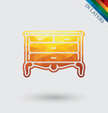Vintage chest of drawers vector.