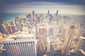 Vintage Chicago Skyline Aerial View Royalty Free Stock Photo