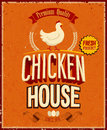 Vintage chicken house poster vector illustration Royalty Free Stock Photos