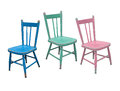 Vintage children s chair blue green and pink old wooden on a white background Stock Images