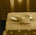 Vintage China Place Setting In Sepia Royalty Free Stock Photo
