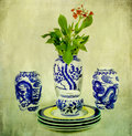 Vintage Chinese Porcelain with Flower Royalty Free Stock Photo