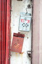Vintage Chinese postboxes, Hong Kong Royalty Free Stock Photo