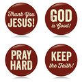 Vintage Christian buttons, red Stock Photos