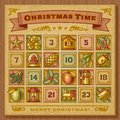 Vintage Christmas Advent Calendar Royalty Free Stock Image