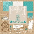 Vintage christmas angel set scrapbook design element in Stock Image