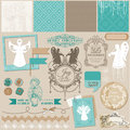 Vintage christmas angel set scrapbook design element in Royalty Free Stock Photos