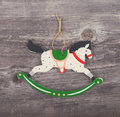 Vintage christmas background decorative ornament horse ornament on wooden Royalty Free Stock Image