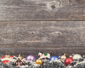 Vintage christmas background with various colorful decorations on wooden wall Royalty Free Stock Photography