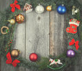 Vintage christmas background wreath with colorful ornaments and decorations Royalty Free Stock Photography