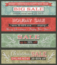 Vintage christmas banners with sale offer vector illustration Royalty Free Stock Photos