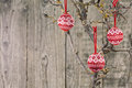 Vintage Christmas baubles over wooden background