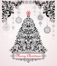 Vintage christmas black and white greeting card with xmas tree and floral decoration Royalty Free Stock Photo