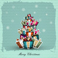Vintage Christmas Card with  gift box Royalty Free Stock Photos