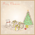 Vintage christmas card with gifts and presents vec vector drawing illustration Stock Images