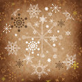 Vintage christmas card greeting in grunge style with retro snowflakes Royalty Free Stock Images