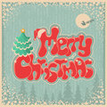Vintage christmas card with text on old paper background Stock Images