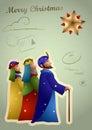 Vintage Christmas Card - Three Kings