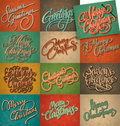Vintage Christmas cards set Stock Images