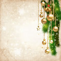 Vintage christmas decorate against old paper texture background and space for your text illustration Stock Images