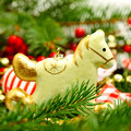 Vintage christmas decoration retro horse on new year background Royalty Free Stock Photo