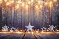 Vintage Christmas Decoration With Stars And Lights Royalty Free Stock Photo