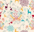 Vintage christmas elements seamless pattern backgr reindeer and snowflakes background eps vector file organized in layers for easy Royalty Free Stock Images